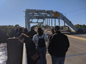 Stamps Scholars crossing the Edmund Pettus bridge from the beginning of the Selma to Montgomery Marches.