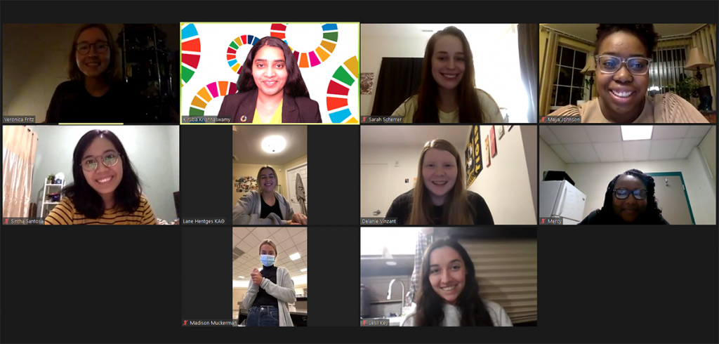 Screenshot of Zoom meeting with students and faculty