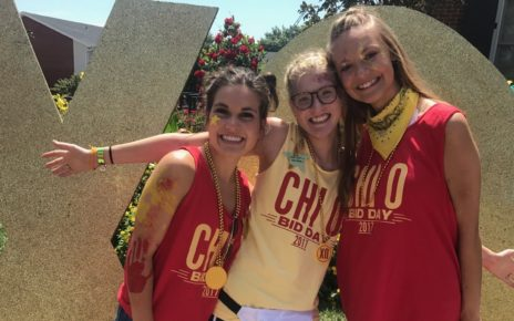 Caitlin and friends at sorority bid day