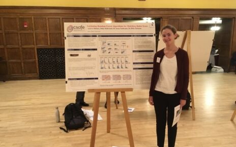 Molly McDermott presenting culminating research poster at the Summer Undergraduate Research Symposium at Iowa State University.