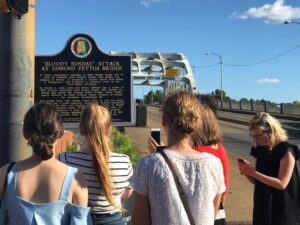 Stamps Scholars visit the Edmund Pettus Bridge, where armed military forces attacked a Civil Rights march on Bloody Sunday in 1965.