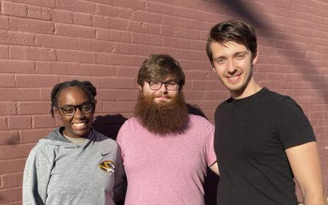 Rhodes Scholarship finalists Faramola Shonekan, Christian Cmehil-Warn and Luke Guerdan pose in downtown Columbia.