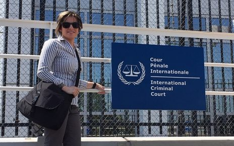 Shanay Murdock stands outside of the International Criminal Court in Amsterdam