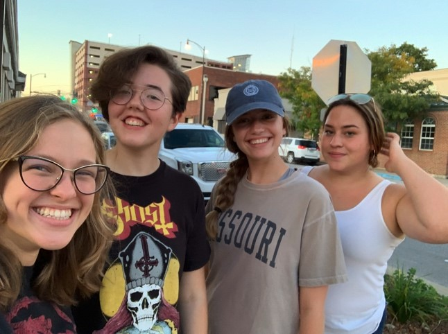 Abby Blenk and suitemates in downtown Columbia