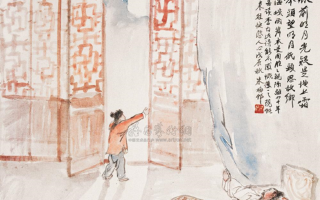 """静夜思"" (""Jing Ye Si"", ""Thoughts on a Tranquil Night"") by Li Bai shown with an accompanying painting."